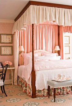Pink bedroom... love the pink canopy