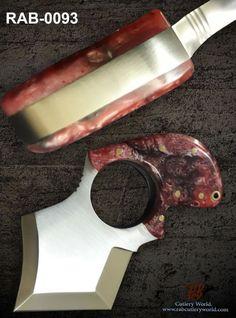 "RaB Cutlery Custom Made Fixed Blade 2.4""x 3/8""Thick D2 Tool Steel Skinning Knife #RaB"