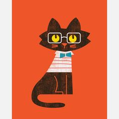 Preppy Cat Print, £19.50, now featured on Fab.   ...........click here to find out more     http://googydog.com