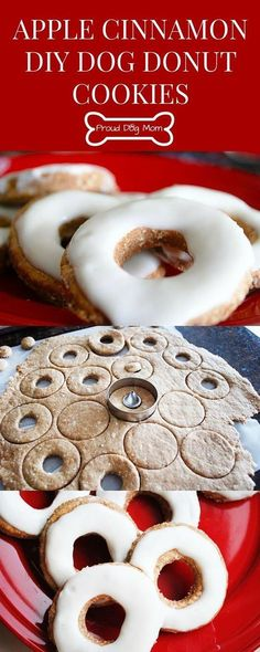 These apple-cinnamon dog donut cookies are shaped like donuts and have the consistency of a biscuit. They are simple to make, healthy, and dogs love them! >>> You can find more details by visiting the image link. Puppy Treats, Diy Dog Treats, Homemade Dog Treats, Homemade Cookies, Dog Treat Recipes, Healthy Dog Treats, Dog Food Recipes, Homemade Dog Biscuits, Free Recipes