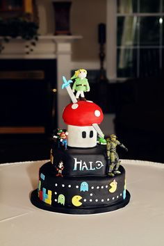 Video Game Groom's Cake with Pac-Man, Halo, Super Mario Bros. & Zelda