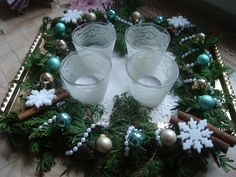 advent wreath - white pearl, lace, + cinnamon, + turquoise, gold
