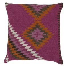 Surya Tranquil Tribal Decorative Pillow Magenta / Multi-Color Poly Fill - LD035-1818P