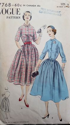 Product PTVG7768 Vintage 1954 Vogue sewing pattern for a one piece dress, easy to make All around gathered skirt joins the bodice at waistline. Front buttons below a small turn down collar. Three quar