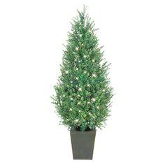 Ge 4 1 2 ft indoor outdoor boxwood pre lit decorative artificial tree
