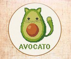 Funny avocado-cat cross stitch pattern. Avocato cross stitch