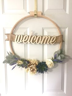Welcome Hoop Wreath — Hay Bales & High Heels - Basteln Artificial Floral Arrangements, Artificial Flowers And Plants, Embroidery Hoop Decor, Types Of Embroidery, Floral Hoops, Craft Night, Summer Wreath, Diy Wreath, Holiday Wreaths