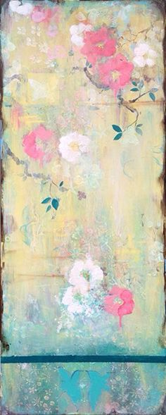 Kathe Fraga Art, www.kathefraga.com Kathe's paintings are inspired by the romance of vintage French wallpapers and Chinoiserie with a modern twist. 40x16 on frescoed panel with oil glaze.