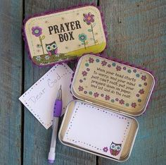 Prayer Box. Great idea to keep in the home. @Danielle Lampert Lampert Lampert Lampert Lampert Tillmes Dean we need to make these!