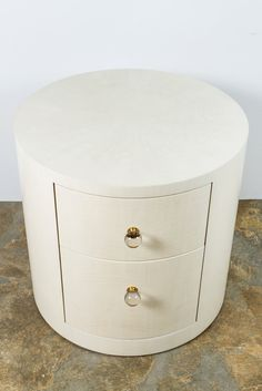 Buy Italian-Inspired Style Round Nightstand by Paul Marra Design - Made-to-Order designer Furniture from Dering Hall's collection of Contemporary Mid-Century / Modern Transitional Nightstands & Bedside Tables. Cool Bedside Tables, Round Nightstand, Side Tables Bedroom, White Nightstand, Unique Nightstands, Mid Century Modern Bedroom, Mid Century Modern Furniture, Midcentury Modern, Master Bedrooms