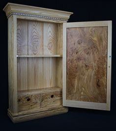 A Spalted Birch, Cherry and Elm Burl Wall Storage Cabinet (with a secret compartment). Can you spot it? Wall Storage Cabinets, Secret Compartment, Bathroom Medicine Cabinet, Birch, Woodworking, Cherry, Home Decor, Secret Compartment Furniture, Decoration Home