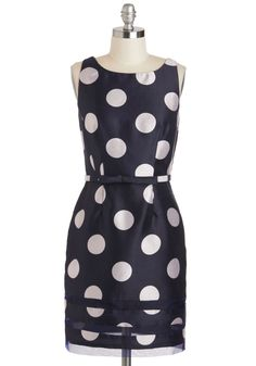 Dot Com & Collected Dress - Mid-length, Blue, White, Polka Dots, Belted, Party, Sheath / Shift, Sleeveless, Boat, Cocktail, Vintage Inspired, 50s