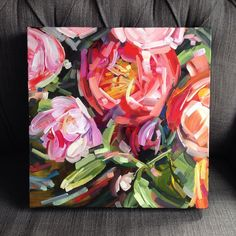 A colorful little 12x12 traveler for a summery day! #acrylic #art #canadianart #dscolor #dsrainbow #doitfortheprocess #color #xo #justkeeppainting #interiordesign #gallery #cottagelife #contemporaryart #muskoka #tree #amymontgomeryart #floral #flowers #peony #dsfloral #thatsdarling #pretty #paint #artoftheday by amymontgo_art