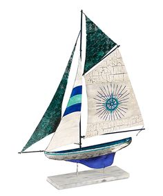 Love this Blue & White Corfu Sailboat Décor by DecoBreeze on #zulily! #zulilyfinds