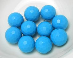 10 Aqua GUMBALL Beads 20mm Faceted Acrylic by OliviaMadisonCompany, $1.99