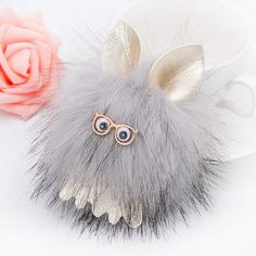 Cartoon Fuzzy Puff Ball Keychain - GRAY