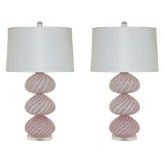 Pair of Vintage Striped Murano Lamps by Dino Martens $3900.00