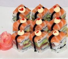 Mini Wasabi Bomb: Double Tuna Fashion, using wasabi, and topped with Salmon www.fugurestaurant.co.za