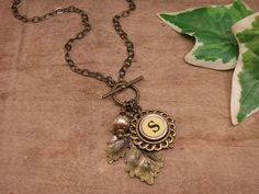 Typewriter Key Jewelry  Brass Maple Leaf with Buttery by thekeyofa, $42.00