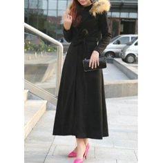 DressLily - Dresslily Hooded Long Sleeve Belted Faux Fur Design Coat - AdoreWe.com