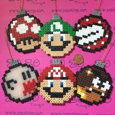 Super Mario Christmas bauble set Hama perler beads by Zo Zo Tings Perler Bead Designs, Diy Perler Beads, Pearler Beads, Pixel Beads, Fuse Beads, Pearler Bead Patterns, Perler Patterns, Super Mario, Christmas Perler Beads