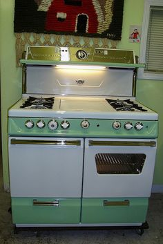 Green vintage stove.