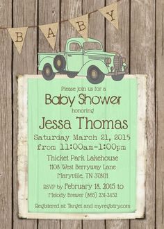 Vintage truck baby shower invitation rustic wood baby shower retro vintage truck baby shower invitation rustic wood baby shower retro baby boy shower invite custom stormeys shower pinterest retro baby vintage filmwisefo