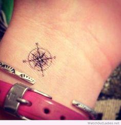 Small compass tattoo idea More