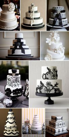 black and white wedding cakes = coco chanel cakes? Cake is good. These are pretty. Perhaps in the wedding colors?