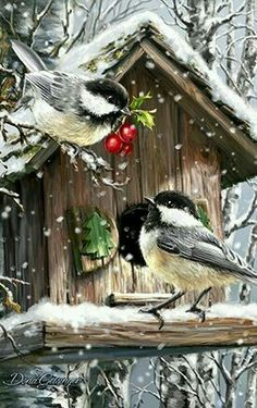 """"""" Birds in Winter """" - DIY Diamond Painting Kit – The Fancy and Dandy Store Christmas Bird, Christmas Scenes, Vintage Christmas Cards, Christmas Pictures, Christmas Room, Etsy Christmas, Christmas Sewing, Christmas Stocking, Illustration Noel"""
