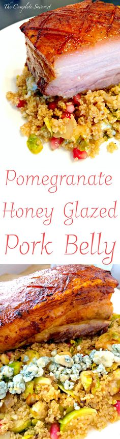 Pomegranate-Honey Glazed Pork Belly is a wonderful recipe for holiday entertaining ~ The Complete Savorist Pork Recipes For Dinner, Roast Beef Recipes, Healthy Meat Recipes, Thanksgiving Recipes, Christmas Recipes, Winter Recipes, Holiday Recipes, Holiday Ideas, Glazed Pork