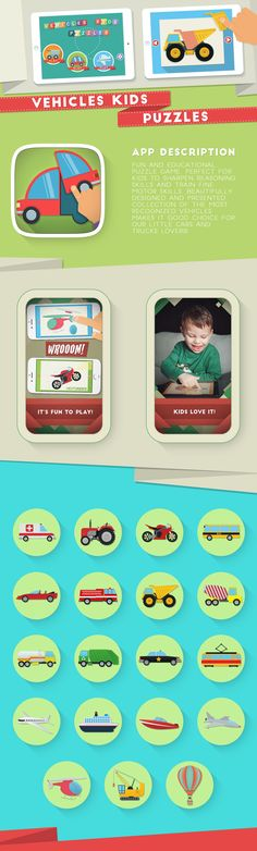 Vehicles Kids Puzzles - mobile puzzle game for kids on Behance