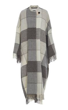 Jil Sander's 'Luella' wool coat is crafted with plaid printed wool and features fringe detailing along the hemline. Poncho Coat, Jil Sander, Wool Coat, Outfit Of The Day, Cool Designs, Plaid, Style Inspiration, My Style, How To Wear