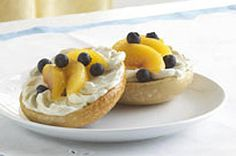 Peaches and cream are yummy, but not a good bagel topper. A better idea: This PHILLY Fruity Bagel, with fresh sliced peaches, blueberries and Neufchatel. Brunch Recipes, Breakfast Recipes, Whole Wheat Bagel, Philadelphia Recipes, Best Bagels, Strawberry Breakfast, Breakfast For Kids, Breakfast Ideas, Brunch Ideas