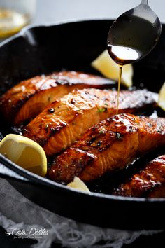 Browned butter honey garlic salmon filets, cooked to perfection in cast iron!