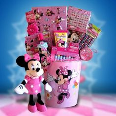 Mini Mouse Accessory Basket Perfect for Birthday Gift Basket for Girls Homemade Gift Baskets, Themed Gift Baskets, Easter Gift Baskets, Homemade Gifts, Diy Gifts, Birthday Gift Baskets, Birthday Gifts, Candy Bouquet Diy, Somebunny Loves You