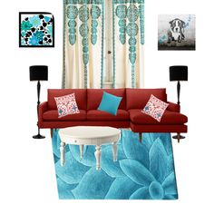 Red couch & turquoise