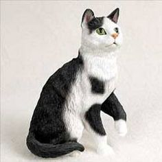 Black & White Cat Figurine - - This endearing tuxedo cat figurine looks ready to climb into your lap for a long nap, or possibly some scratching under the ears. Crazy Cat Lady, Crazy Cats, White Tabby Cat, Cat Brain, Dog Calendar, Cat Toilet, Cat Statue, Ceramic Animals, Cat Birthday