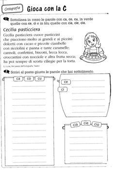 Ca co cu ci ce cia cio ciu Italian Grammar, Italian Language, School Of Rock, Back To School, School Template, Italian Lessons, Montessori Math, Learning Italian, Teaching Materials