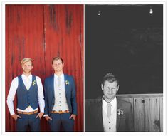 California country wedding: Lauri + Karley | Real Weddings | 100 Layer Cake. Groom and best man