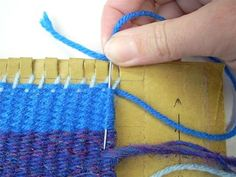 Keep older kids busy weaving coasters and dollhouse rugs.  Dig a piece of sturdy cardboard (cereal box?) out of your recycle bin and learn how to turn it into a loom!