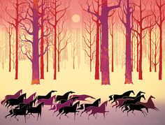 Eyvind Earle - Land of the Midnight Sun serigraph print.