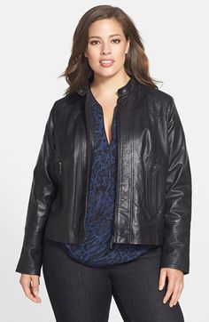 Bernardo Leather Front Zip Scuba Jacket (Plus Size) available at #Nordstrom