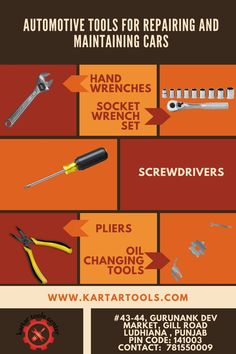 Want to do your own car maintenance? Here are some basic tools requires such as a set of combination wrenches, a ratchet wrench and set of sockets, an adjustable wrench, a couple of regular screwdrivers, several pairs of pliers and a few assorted special purpose tools. Buy automotive tools online in India at a price under your budget. For more details http://kartartools.com/automotive-tools
