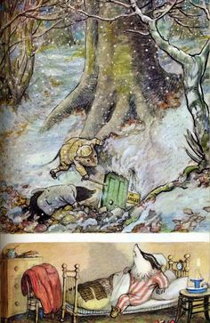 "Mole and Ratty trying to rouse Mr. Badger when Mole got lost in the Wildwood.  He was rescued from certain death by Ratty, but they both got lost when it started to snow.  Then they found Mr. Badger's dwelling... illustration by E.H. Shepared, book ""The Wind in the Willows"" by Kenneth Grahame"