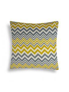 Chevron Yellow Grey Pillow by domusworks at Gilt