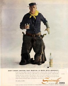 """""""Don't shoot, Buster! That martini is made with Smirnoff!"""" Buster Keaton photographed by Bert Stern for Smirnoff Vodka, 1957"""