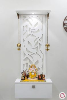Pooja Room Design: 10 Latest Compact Designs for Your Home Pooja Room Door Design, Home Room Design, Wall Design, House Design, Modern Tv Cabinet, Tv Unit Design, Ganapati Decoration, Mandir Decoration, Temple Design For Home