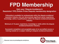 Fellowship | How do you gain FPD membership in dispute avoidance & resolution ? https://www.primedispute.com/membership-designations.html or view the profile of #RashdaRana to see how Rashda Rana SC (QC) FPD gained Prime Dispute most senior membership designation https://www.primedispute.com/rashda-rana-sc.html #Construction #ADR #Energy #Banking #Commercial #Infrastructure #FinancialServices