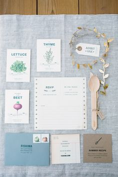 Lisa Mishima design / Emily Scannell photography. Wedding inviations with custom seed packets containing info